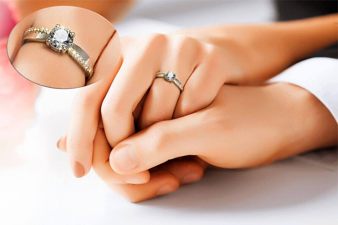 Luxus Verlobungsring - Ansicht am Finger